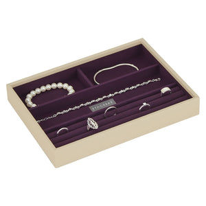 Stackers Cream & Purple Classic 4 Section Jewellery Tray