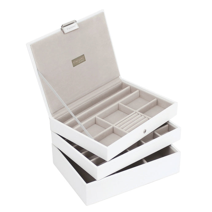 Stackers White & Grey Classic Set of 3 Jewellery Trays
