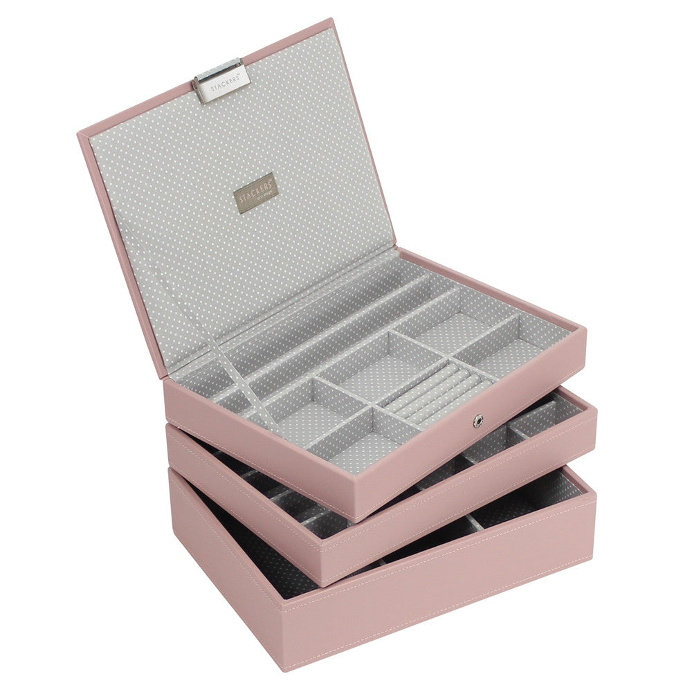Stackers Soft Pink & Grey Spot Classic Set of 3 Jewellery Trays