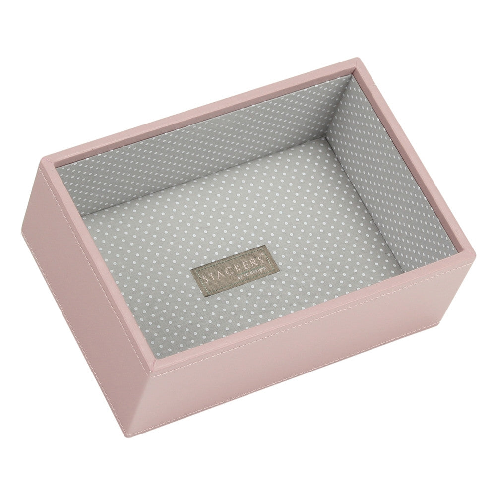 Stackers Soft Pink & Grey Spot Mini Deep Open Jewellery Tray