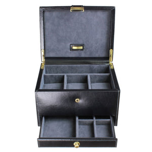 Dulwich Designs Leather Heritage Black 3 Piece Watch & Cufflink Box