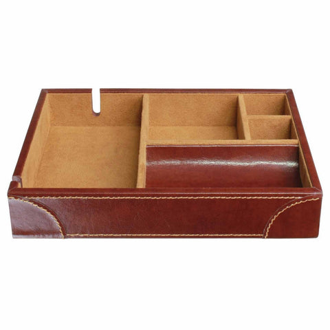 Dulwich Designs Leather Heritage Chestnut Valet Tray