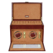 Dulwich Designs Leather Heritage Chestnut Double Watch Winder