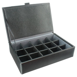 Dulwich Designs Leather Eclipse 15 Cufflink Box Grey