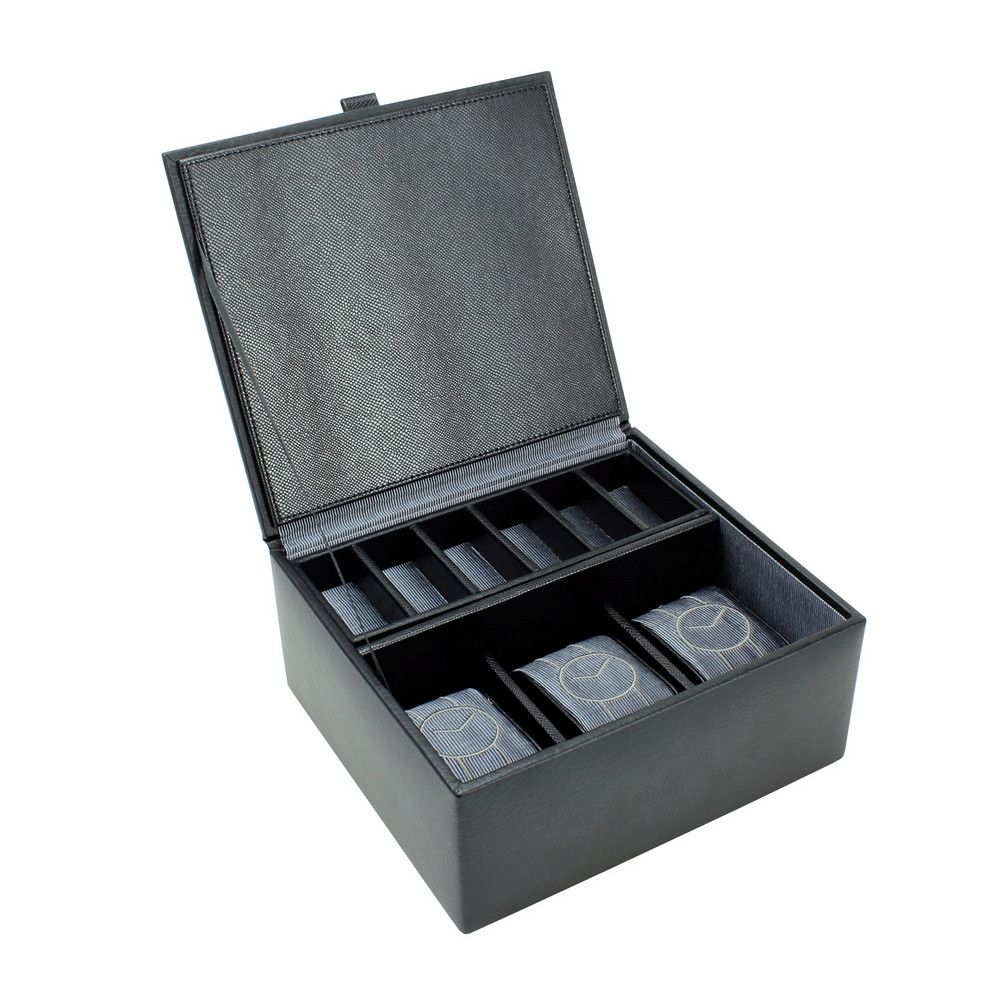 Dulwich Designs Leather Eclipse 3 Piece Watch & Cufflink Box Grey