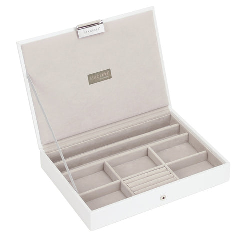 Stackers White & Grey Classic Lidded Jewellery Tray