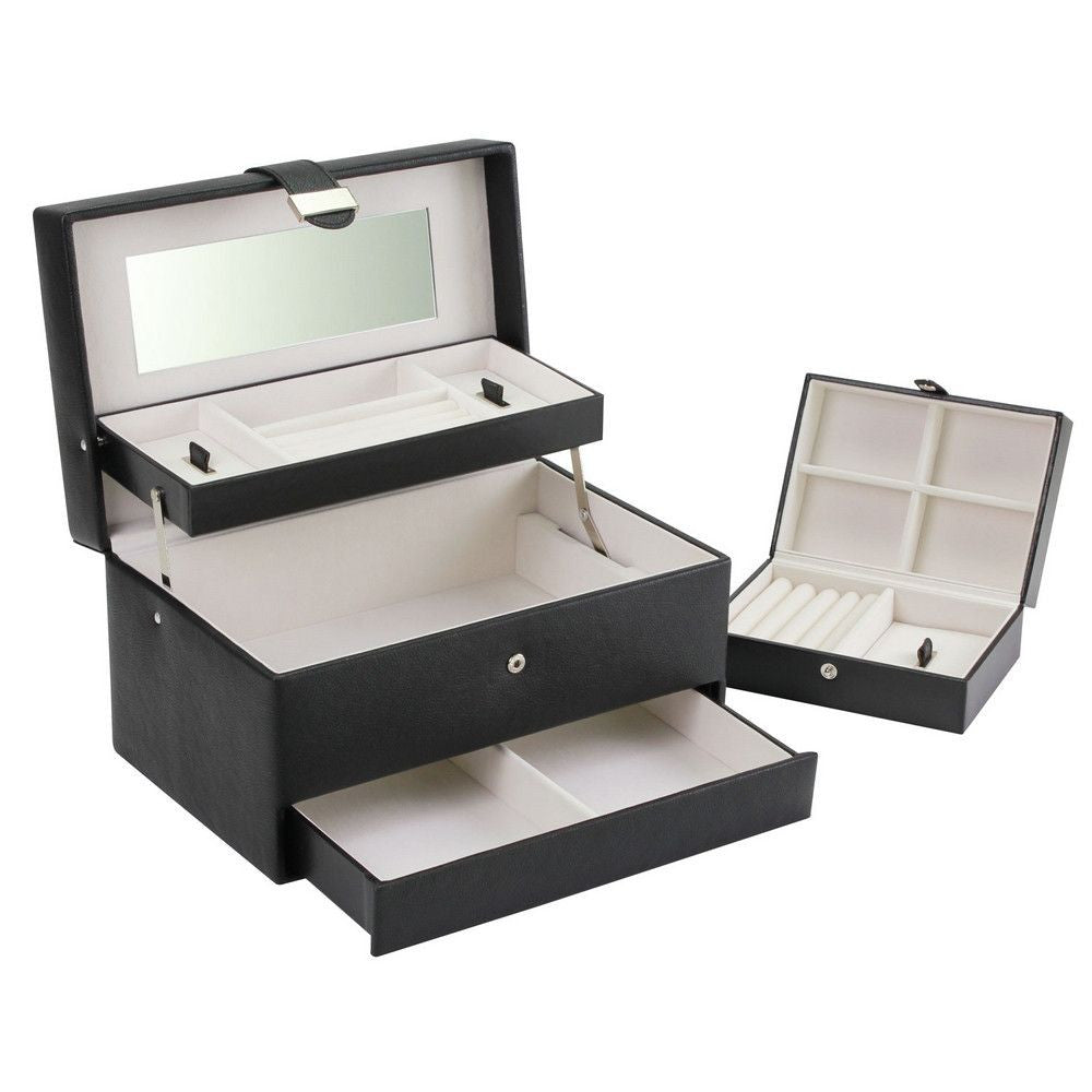 Large Black Cantilever Jewellery Box with Travel Box