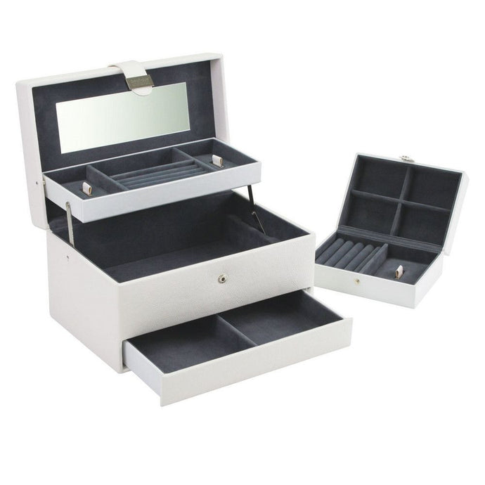 Large White Cantilever Jewellery Box with Travel Box