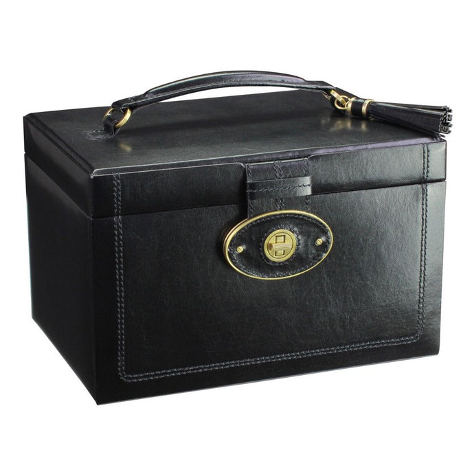 Dulwich Designs Leather Heritage Black Large Jewellery Box
