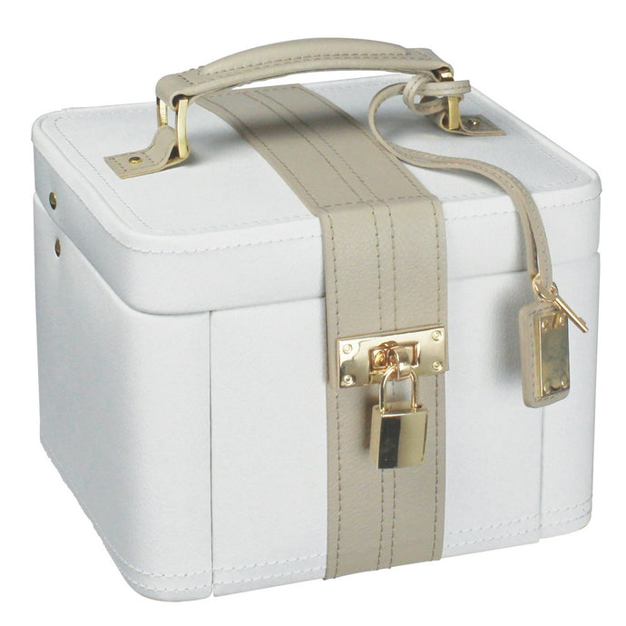 Dulwich Designs Leather Medium Cream/Mink Jewellery Box with Padlock