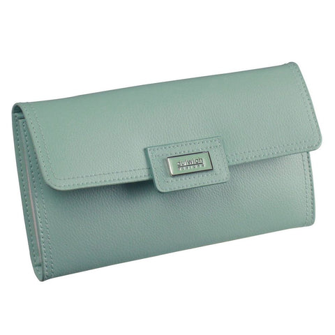 Dulwich Designs Leather Duck Egg Blue Jewellery Roll