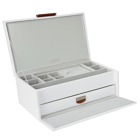 Tuscany White/Tan Medium Jewellery Box