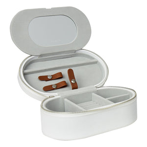 Tuscany White/Tan Large Travel Jewellery Box
