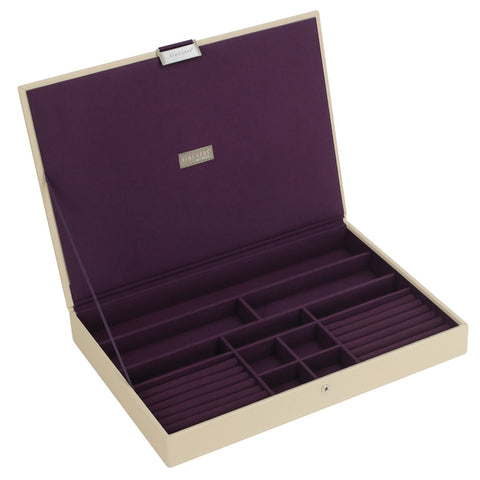 Stackers Cream & Purple Supersize Lidded Jewellery Tray