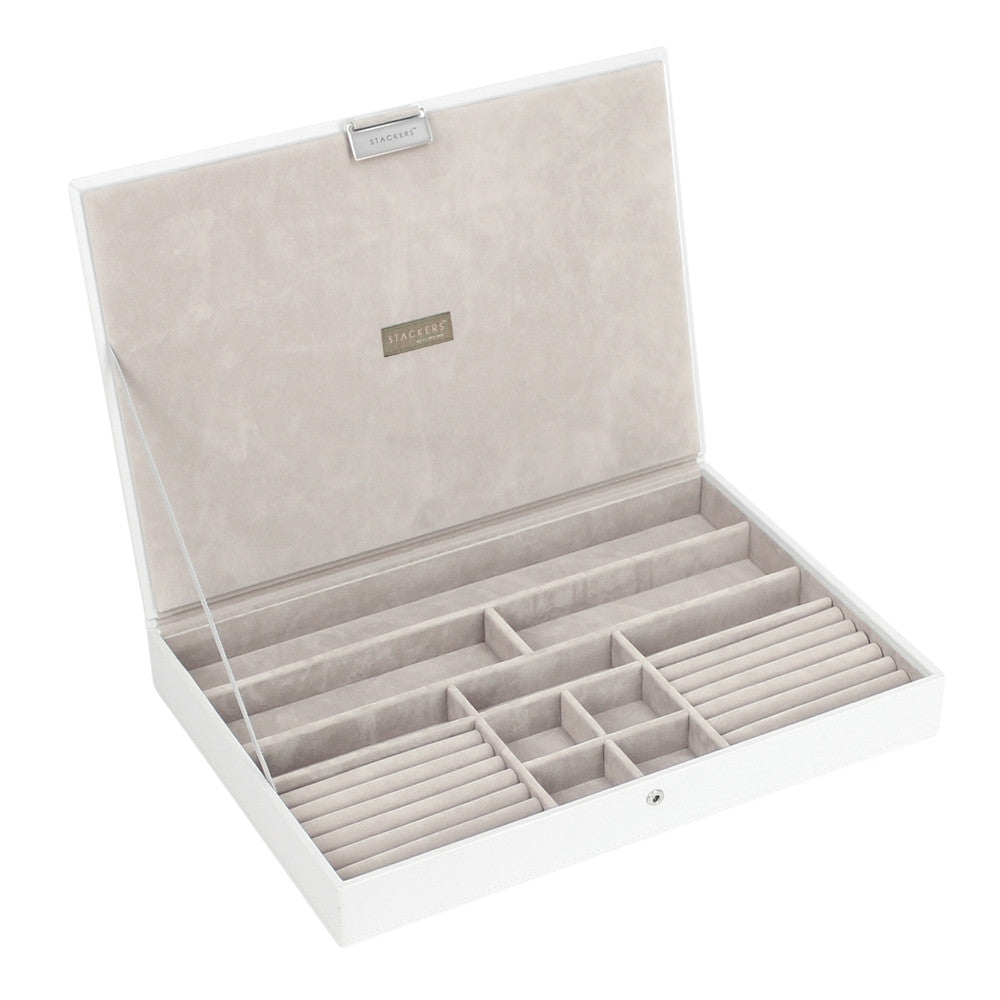 Stackers White & Grey Supersize Lidded Jewellery Tray