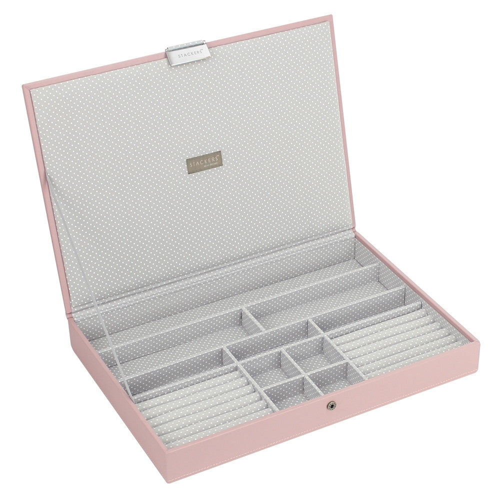 Stackers Soft Pink & Grey Spot Supersize Lidded Jewellery Tray