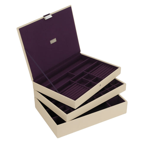 Stackers Cream & Purple Supersize Set of 3 Jewellery Trays