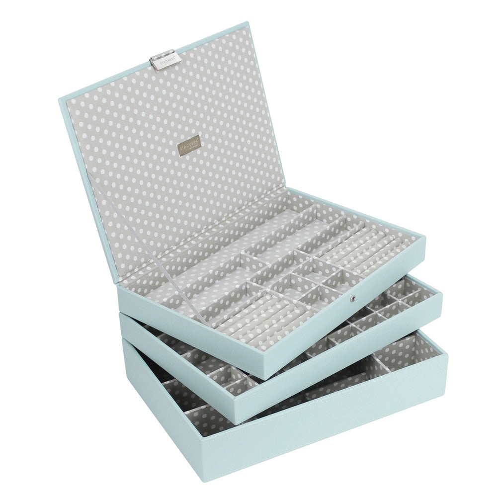 Stackers Duck Egg & Grey Supersize Set of 3 Jewellery Trays