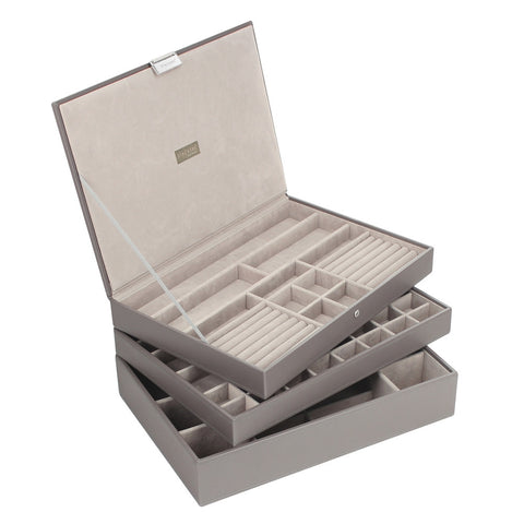 Stackers Mink & Grey Supersize Set of 3 Jewellery Trays