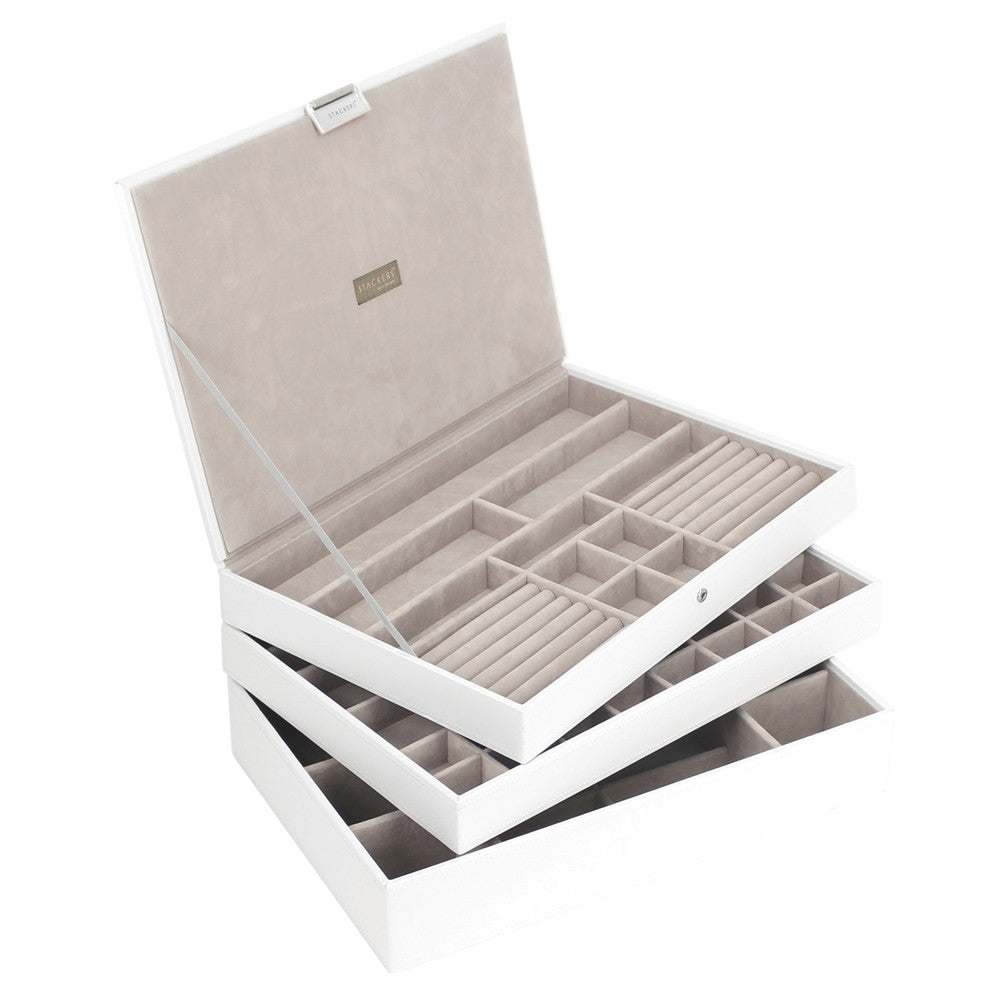 Stackers White & Grey Supersize Set of 3 Jewellery Trays
