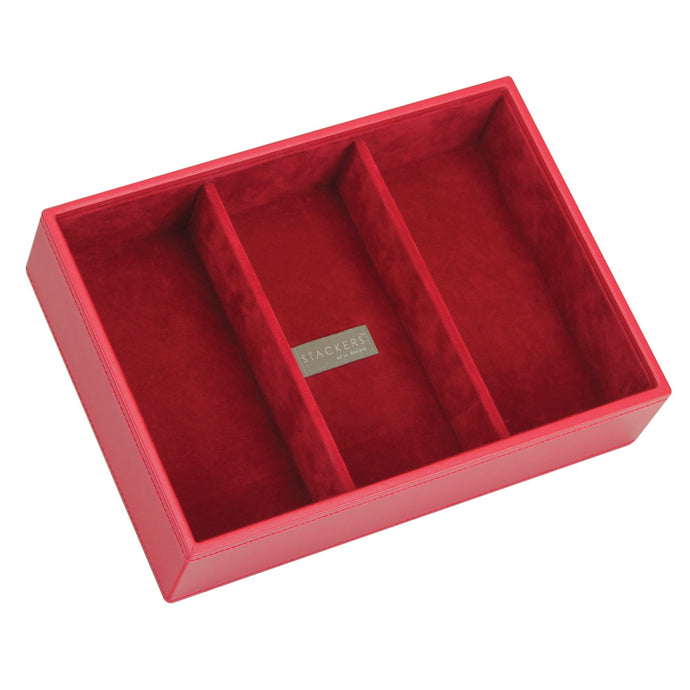 Stackers Red & Red Classic Deep 3 Section Jewellery Tray