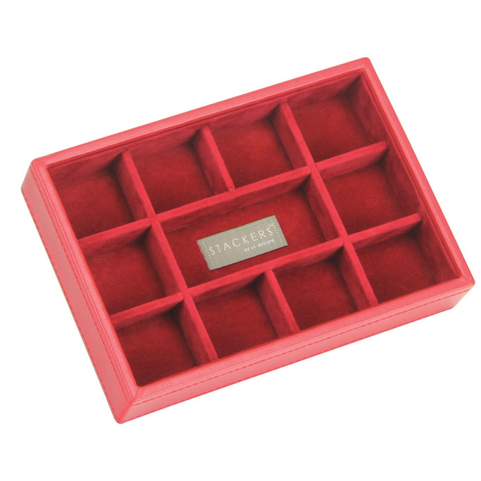 Stackers Red & Red Mini 11 Section Jewellery Tray