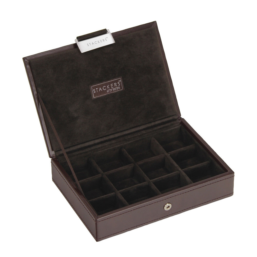 Stackers Gents Exec Brown Lidded Cufflink Tray