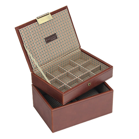 Stackers Gents Tan/Check Set of 2 Accessory Trays