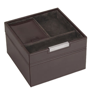 Stackers Gents Square Exec Brown Set of 2 Trays