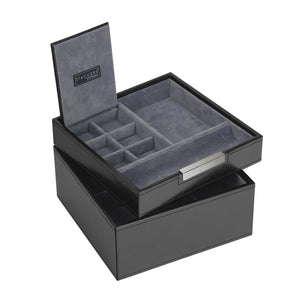 Stackers Gents Square Exec Black Set of 2 Trays