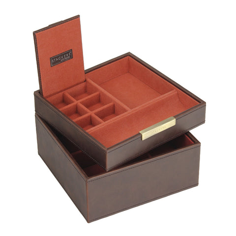 Stackers Gents Square Brown/Orange Set of 2 Trays