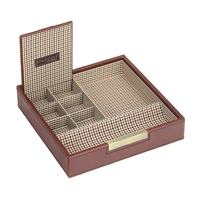 Stackers Gents Square Tan/Check Valet Tray