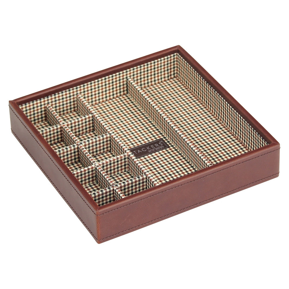 Stackers Gents Square Tan/Check Cufflink Tray