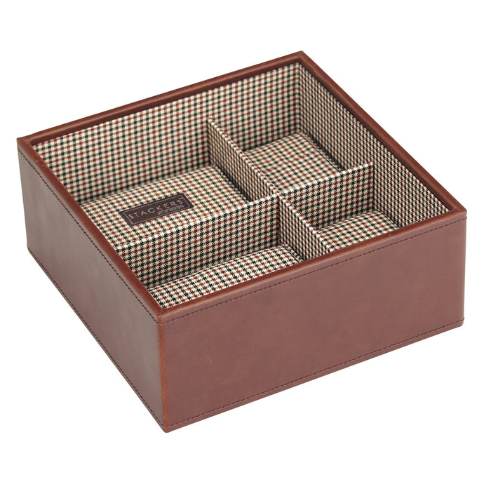 Stackers Gents Square Tan/Check Watch Tray