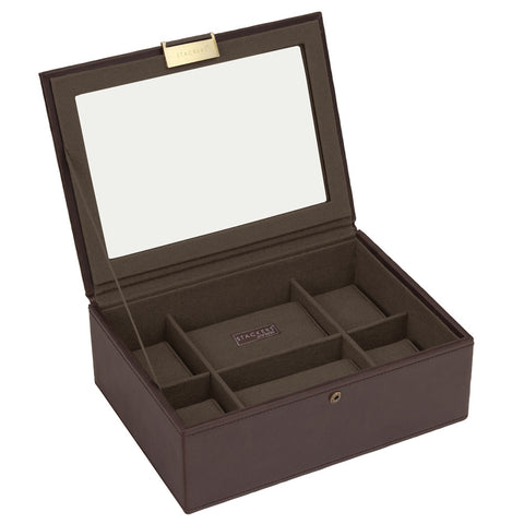 Stackers Brown/Khaki Watch Lidded 8 Piece Watch Tray