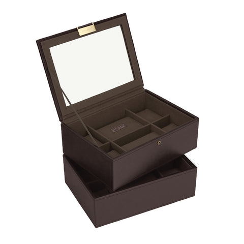 Stackers Brown/Khaki Set of 2 8 Piece Watch Trays