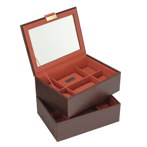 Stackers Brown/Orange Set of 2 8 Piece Watch Trays