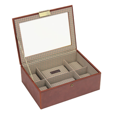Stackers Tan/Check Watch Lidded 8 Piece Watch Tray