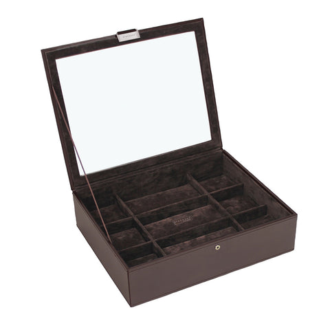 Stackers Exec Brown Watch Lidded 15 Piece Watch Tray