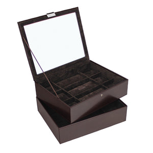 Stackers Exec Brown Set of 2 15 Piece Watch Trays