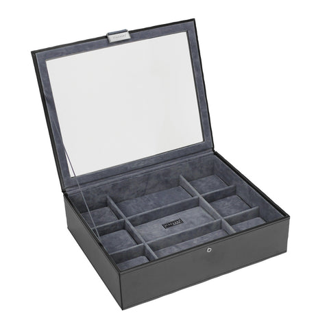 Stackers Exec Black Watch Lidded 15 Piece Watch Tray