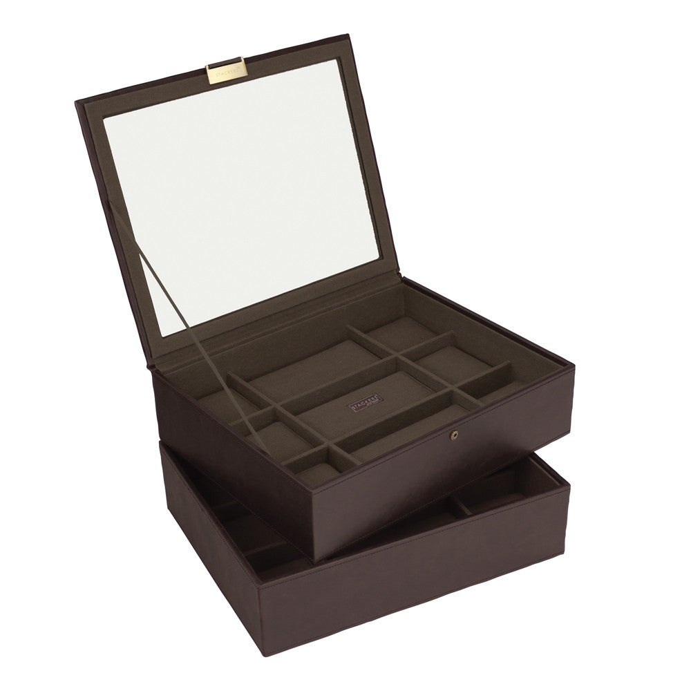 Stackers Brown/Khaki Set of 2 15 Piece Watch Trays