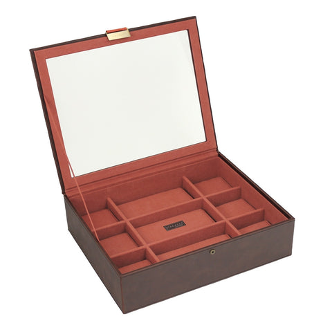 Stackers Brown/Orange Watch Lidded 15 Piece Watch Tray