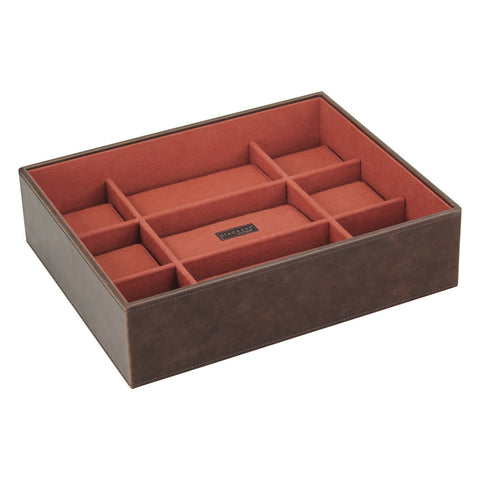 Stackers Brown/Orange Watch Open 15 Piece Watch Tray