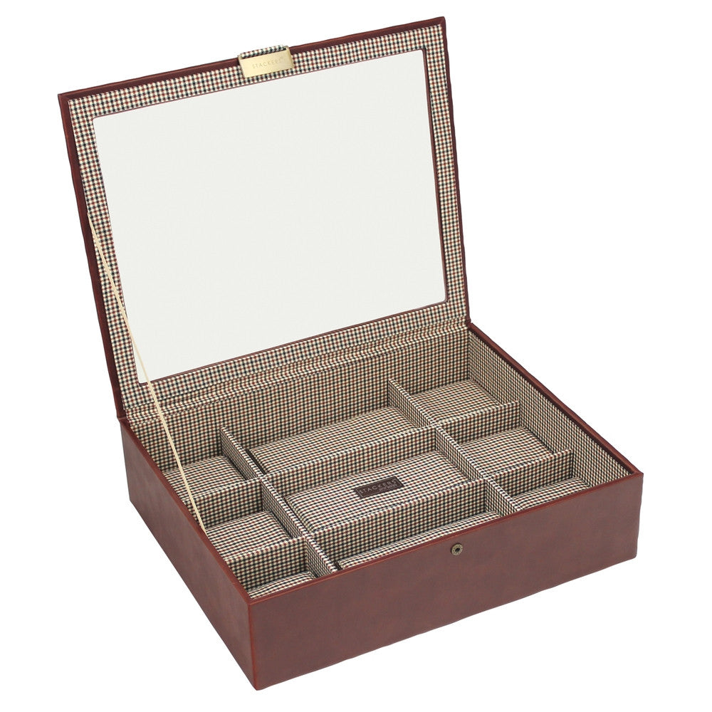 Stackers Tan/Check Watch Lidded 15 Piece Watch Tray