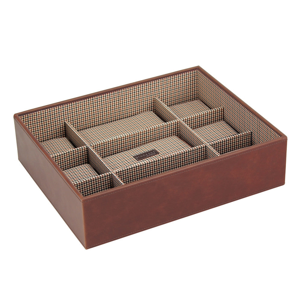 Stackers Tan/Check Watch Open 15 Piece Watch Tray