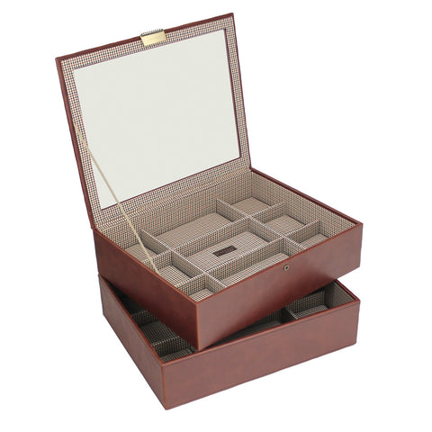 Stackers Tan/Check Set of 2 15 Piece Watch Trays