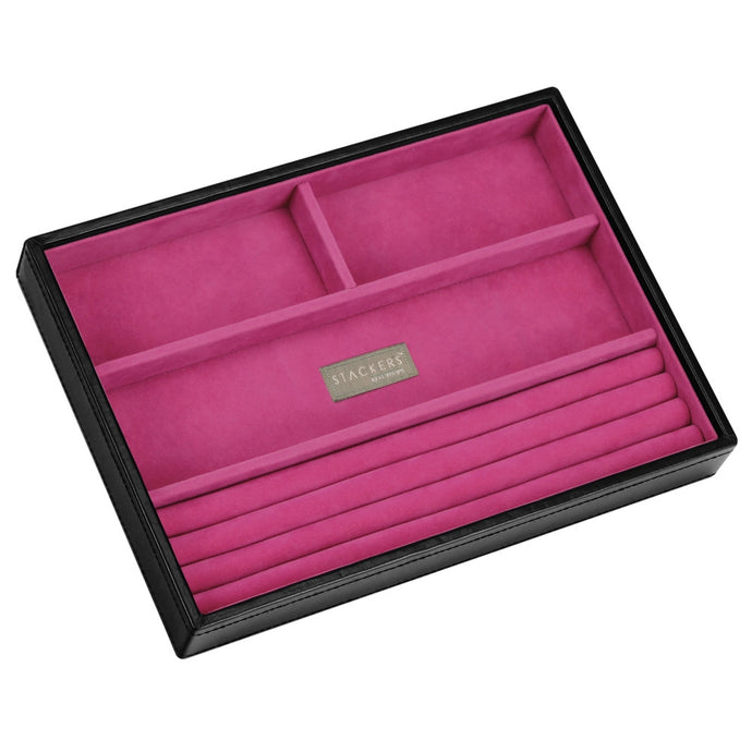 Stackers Black & Fuchsia Classic 4 Section Jewellery Tray