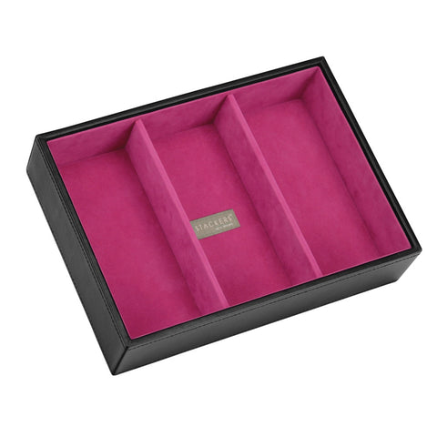Stackers Black & Fuchsia Classic Deep 3 Section Jewellery Tray