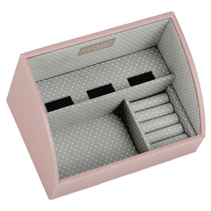 Stackers Soft Pink & Grey Spot Set of 2 Mobile Friendly Trays